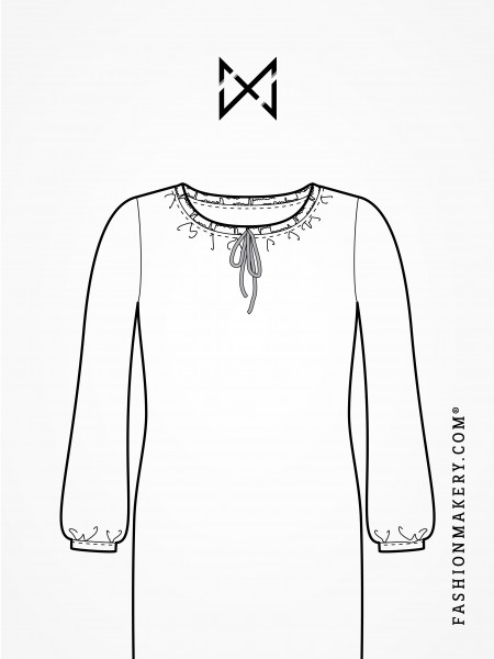 Grundschnittkonstruktion Kleid ohne Abnäher